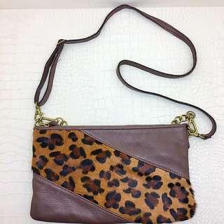 🚚 真皮豹紋兩用包/手拿包/肩背包/側背包