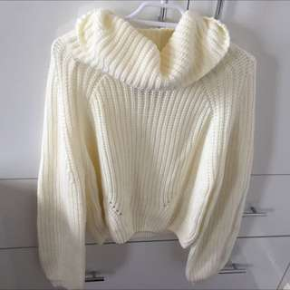 Turtle Neck Cream Jumper Semi Crop
