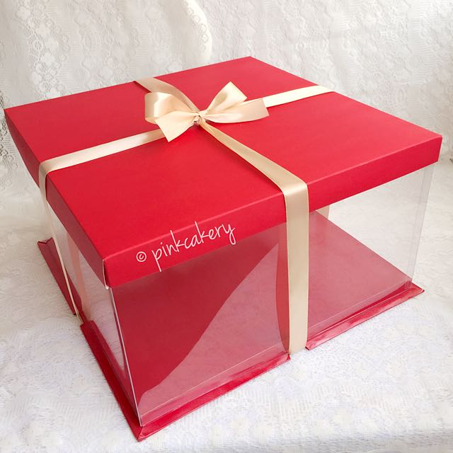 Out Of Stock 12 Inch Red See Through Cake Box Design Craft On