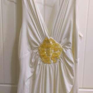 白色深V性感長禮服