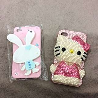 4S手機殼出清 小兔子/Hellokitty立體珍珠