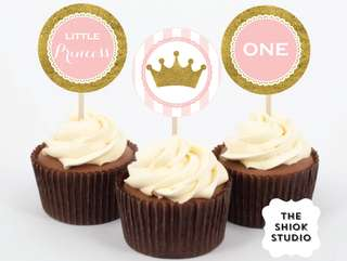 Pink and Gold Princess Cupcake Toppers