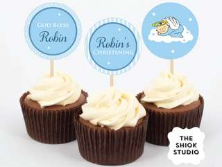 Angel Boy Christening Cupcake Toppers