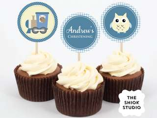 Blue Christening Cupcake Toppers