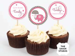 Pink Elephant Christening Cupcake Toppers
