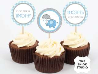 Blue Elephant Christening Toppers