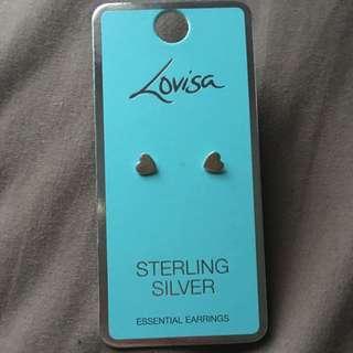 Sterling Silver Heart Studded Earrings