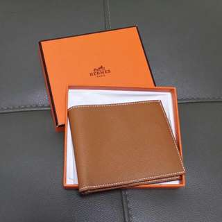 Authentic Hermes Epsom Bi Fold Men Wallet Purse