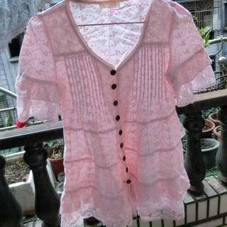 粉紅上衣 蕾絲