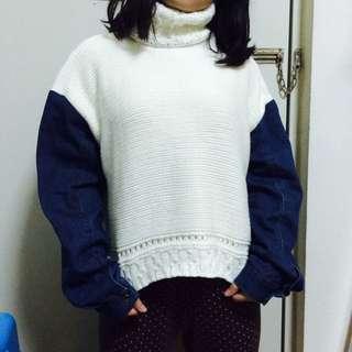 全新韓版高領牛仔袖拼接毛衣