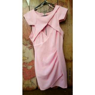 Pink Waffle Dress With Cut Out.