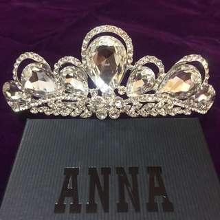 全新。新娘飾品大皇冠 施華洛世奇水鑽白鑽水滴型大皇冠 - 現貨
