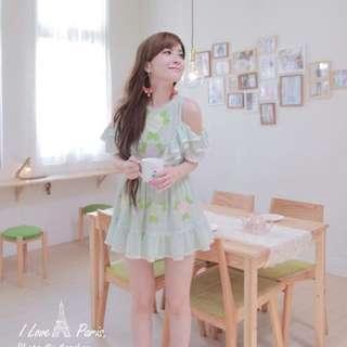 花猴款 湖水綠刺繡露肩小洋裝