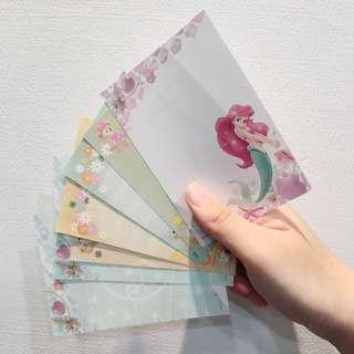 迪士尼 達菲 Duffy 美人魚 Ariel 信紙