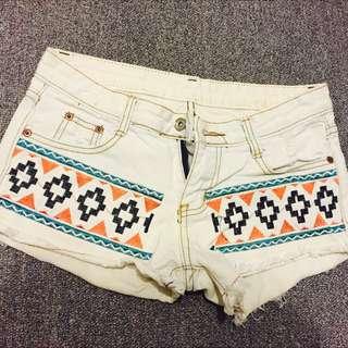 圖騰白色短褲❤️