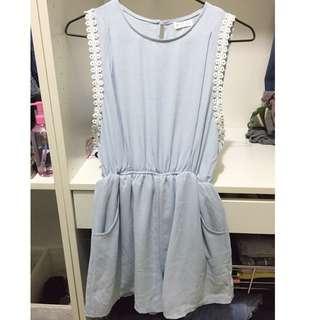 淡藍雪紡連身褲裙(有內裡)