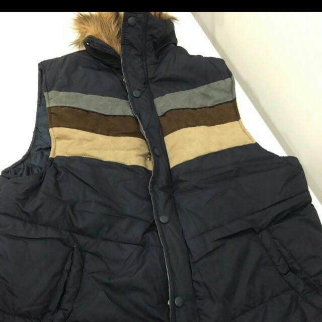 毛領厚棉深藍背心外套
