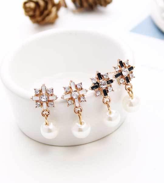 耳環/耳釘/耳環組/婚禮小物♥水鑽十字架♥耳釘/耳針/耳環