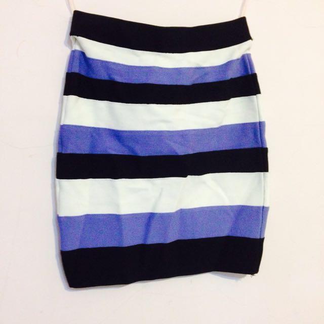 撞色高腰極彈性繃帶窄裙