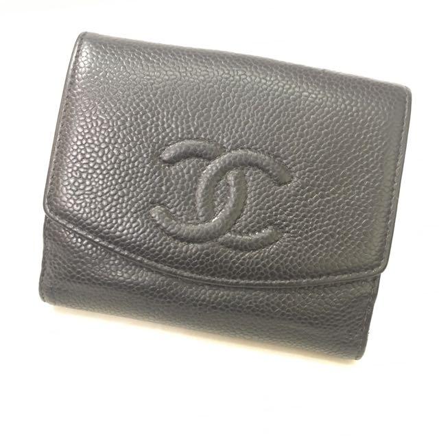 真品CHANEL 小香Logo皮夾 (Coach  Dior  LV Gucci Fendi D&G AF  )
