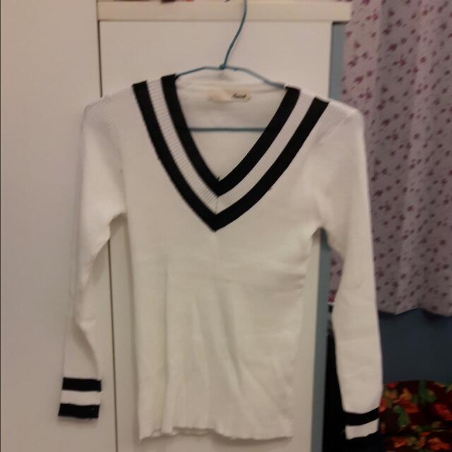 全新 針織學院風白色上衣