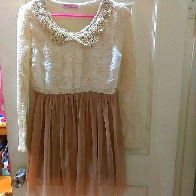 韓版 亮片領紗裙洋裝