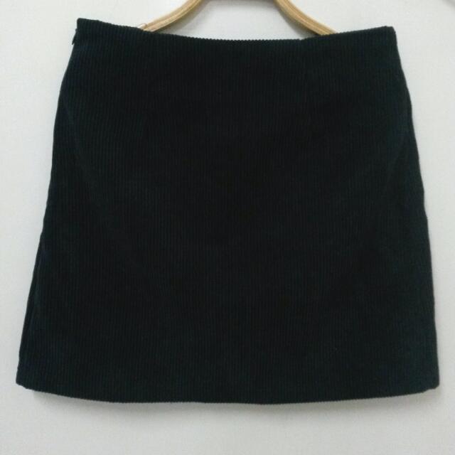 燈芯絨 短裙 黑