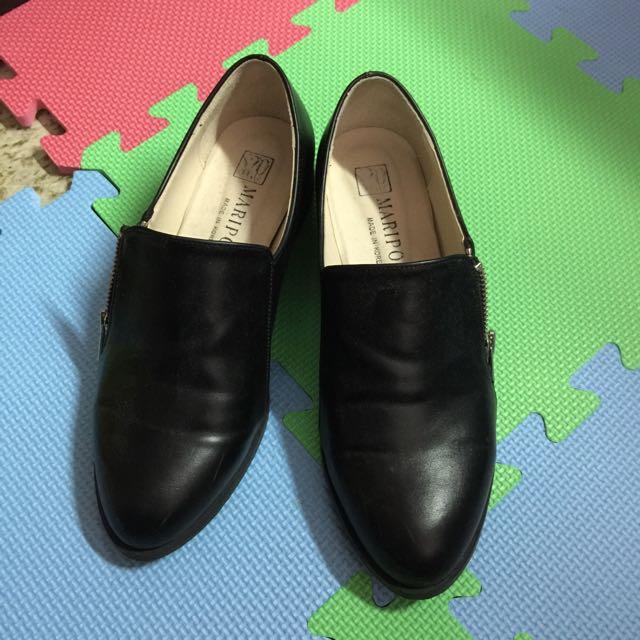 韓 百搭 黑色 低跟鞋