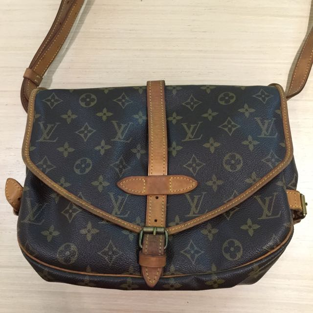 真品 二手 Louis Vuitton LV M42256斜背包肩背包30公分原花雙面馬鞍包100%真品