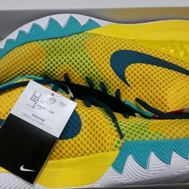 全新日本帶回 Nike kyrie 1EP Irving 黃色籃球鞋 騎士厄文 US9=27CM