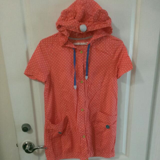 (保留)A La Sha 橘底白點熊耳朵長版襯衫