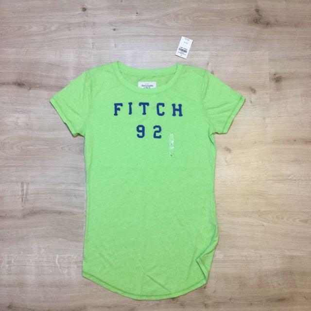 全新a&f綠色短袖未剪標