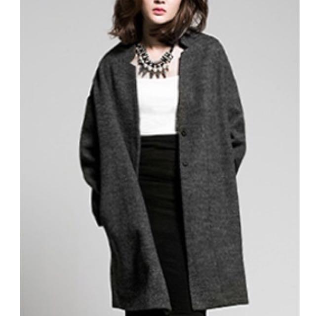 ANNWU長版毛呢大衣