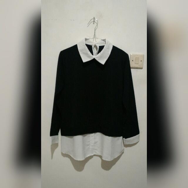 Black Collar Top / Kemeja Hitam