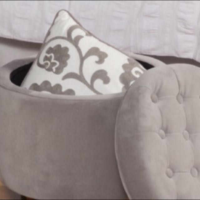 Brand New In The Box Grey Button Tufted Storage Ottoman