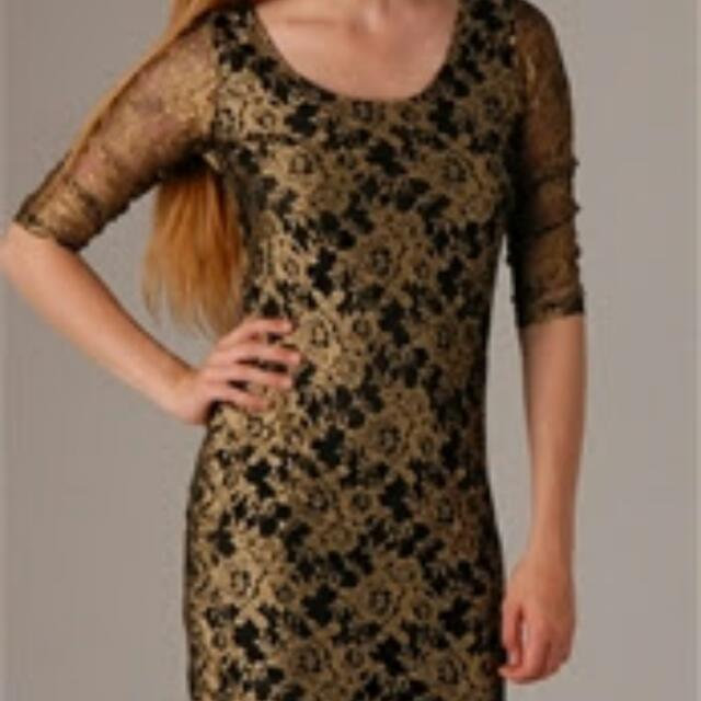Fate Gold Lace Dress