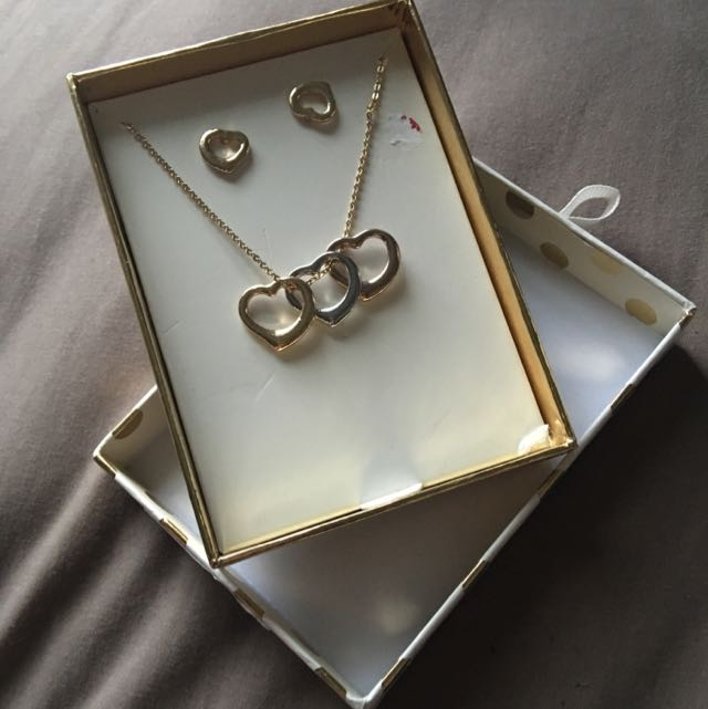 Gold Matching Heart Earrings And Necklaces