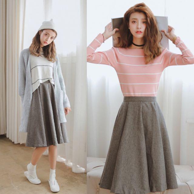 High Waist Simple Minimalist Grey Gray Korean Style Sweet Japanese Look Midi Skirt Code E405