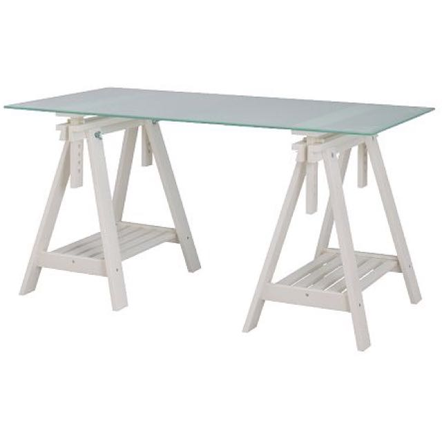 Reduced To Clear Used Ikea White Wooden Finnvard Trestle Tampered Glass Desk Table Furniture On Carou