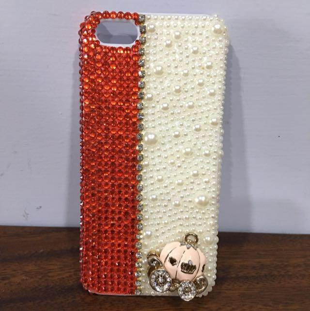 iPhone5/5s 珍珠亮鑽立體馬車手機殼
