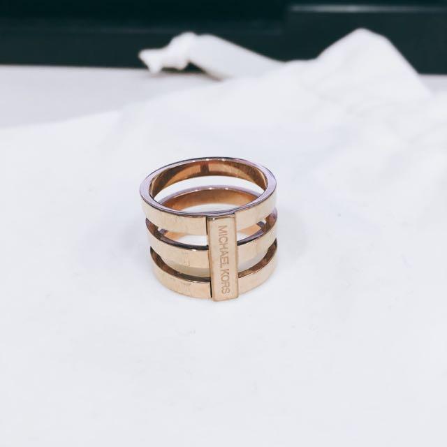 全新Michael Kors 金色三環造型戒指 5號