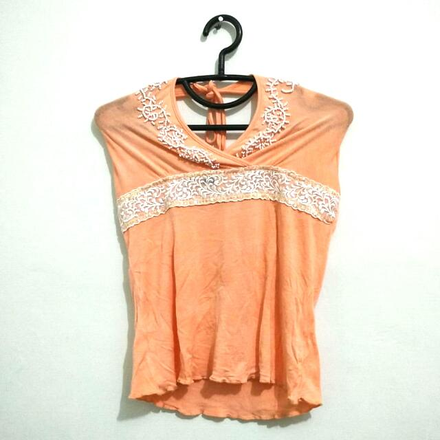 Peach beaded sleeveless