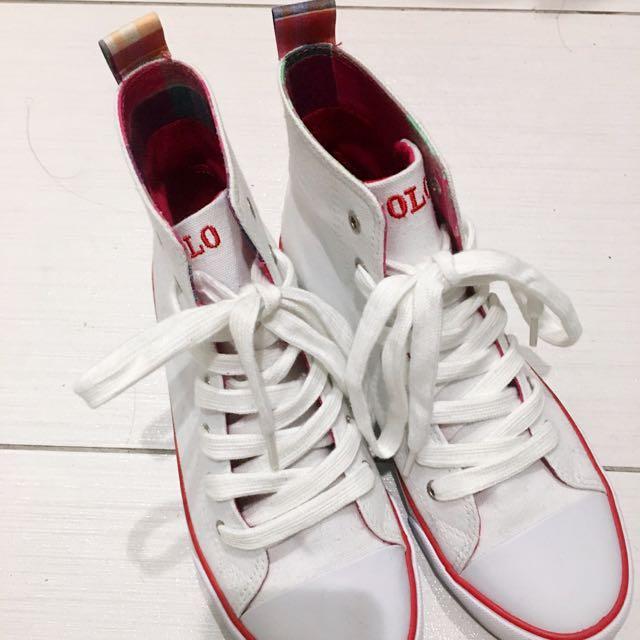 POLO 白色紅格紋高筒帆布鞋
