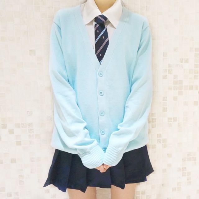 Pastel Blue Japanese Seifuku/Uniform Cardigan/Sweater, J-pop on ...