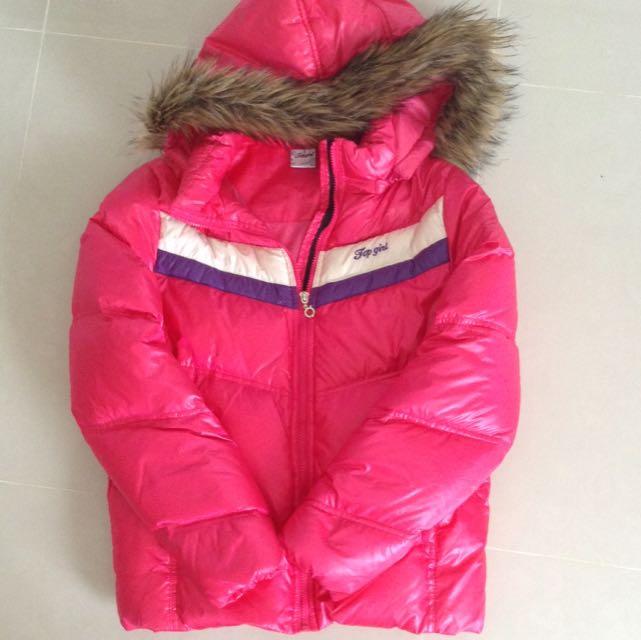 Top Girl 桃紅色保暖羽絨外套