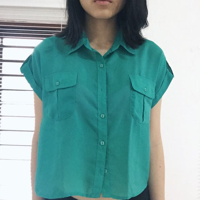 Turquoise Cropped Shirt