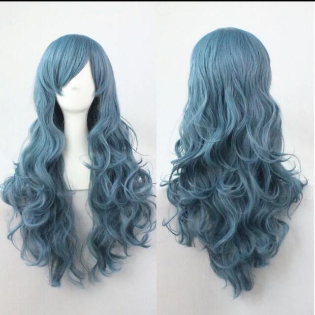Wavey Dusty Blue Cosplay Wig