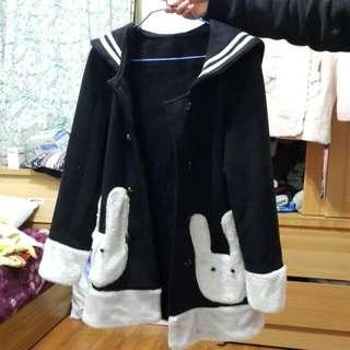 制服 兔 大衣 外套 黑