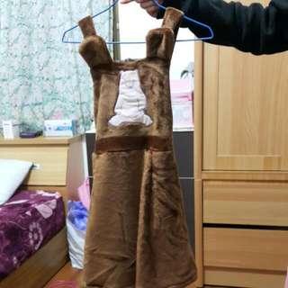 絨毛 吊帶裙