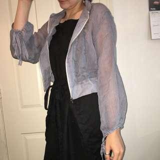 Sheer Jacket Stripe Blue Elephantberry Sz M Women